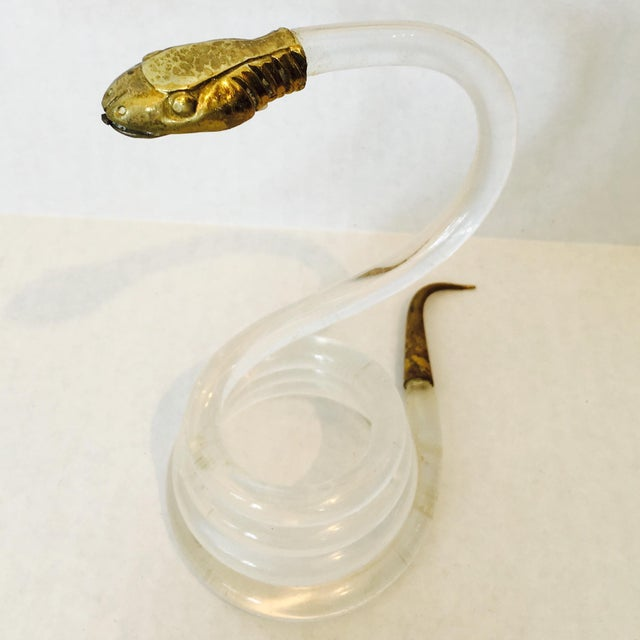 Hollywood Regency Alessandro Albrizzi Coiled Lucite Snake For Sale - Image 3 of 6