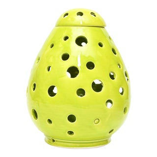 Moroccan Hand Painted Green Egg Lamp Shell For Sale