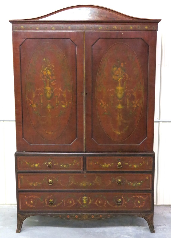 Antique English Adams Style Armoire   Image 2 Of 9
