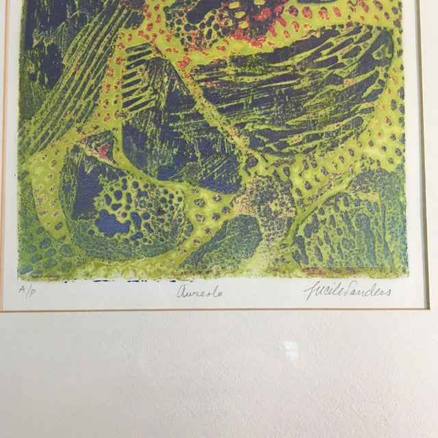 """1970s """"Aureolo"""" Etching by Lucile H. Sanders, Framed For Sale - Image 4 of 7"""