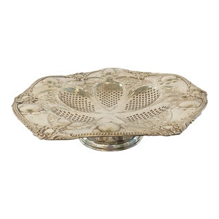 20th Century Silver Repousse Footed Bowl For Sale