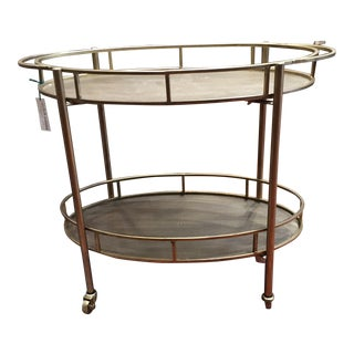 Metal Oval Two-Tier Bar Cart