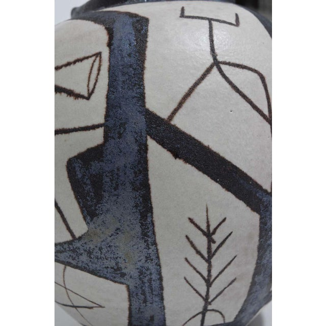 Mid-Century Modern Ovoid Vessel With Geometric Design in Style of Guido Gambone, 2011 For Sale - Image 3 of 9