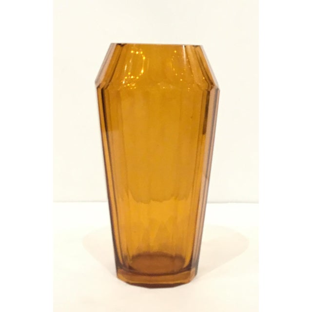 Gorgeous timeless Vintage Moser Amber Art Glass Vase, faceted detail, Circa, 1920's