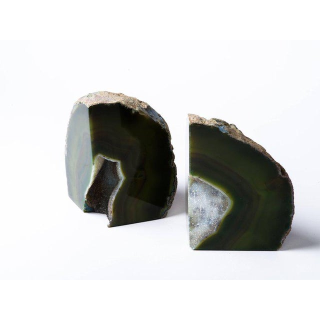 Pair of Organic Modern Agate Stone and Crystal Bookends in Moss Green For Sale - Image 10 of 11