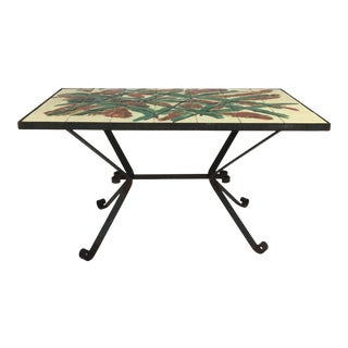 French MCM Tiled and Wrought Iron Coffee Table. For Sale