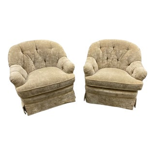 Baker Tufted Club Chairs - a Pair For Sale