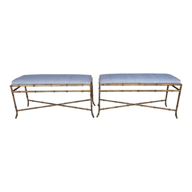 Vintage Faux Bamboo Base Benches - A Pair - Image 1 of 5