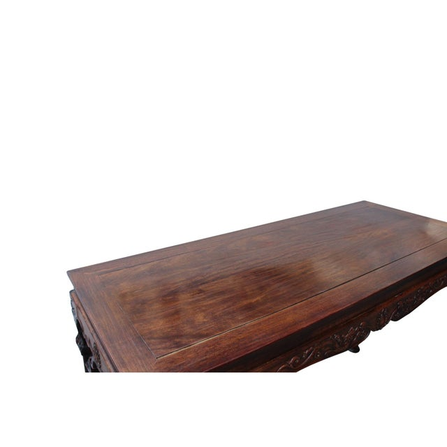 Chinese Brown Huali Rosewood Dragon Motif Round Apron Altar Table For Sale In San Francisco - Image 6 of 8