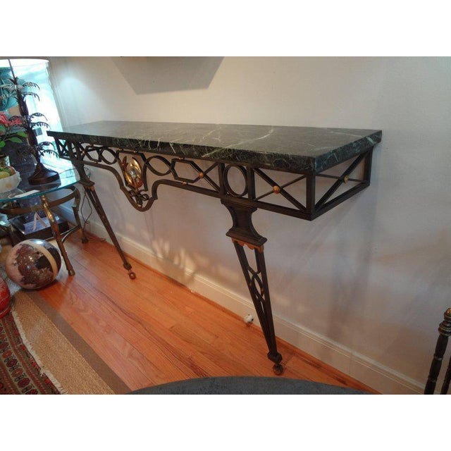 Gilbert Poillerat French Neoclassical Gilbert Poillerat Style Wrought Iron Console Table For Sale - Image 4 of 10