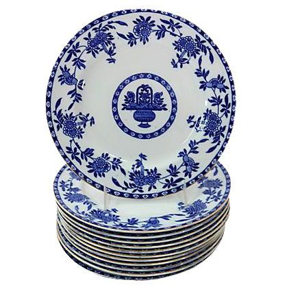 Antique Flow Blue Dessert Plates - Set of 12 - Image 1 of 2