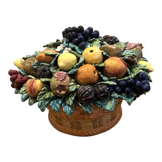 Italian Majolica Fruits in Basket Pottery Sculpture For Sale