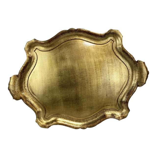 Large Gold Leaf Florentine Style Tray For Sale