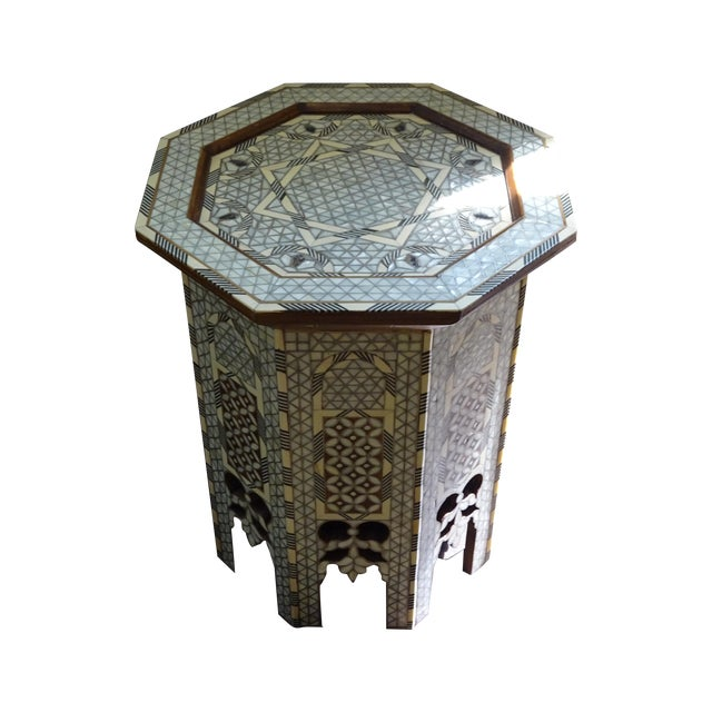 Syrian or Moroccan Mother of Pearl Inlay Side Table - Image 1 of 9