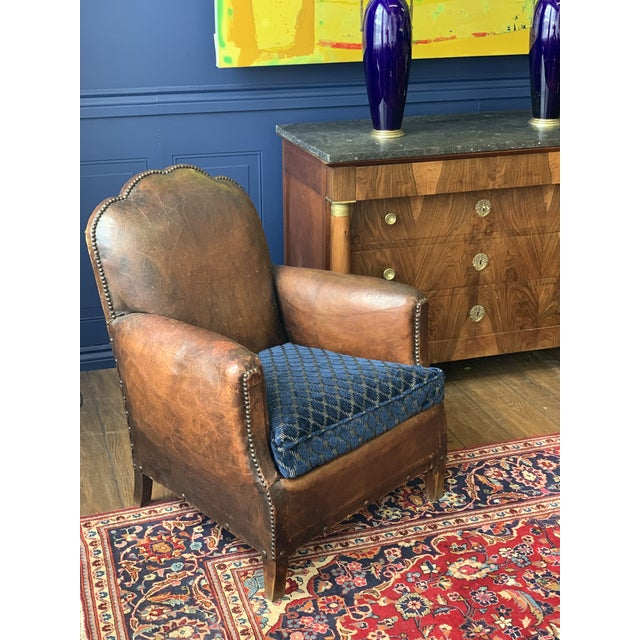 1930's Vintage Art Deco Leather Club Chairs - A Pair For Sale - Image 10 of 10