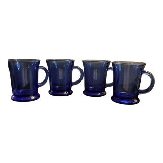Vintage Anchor Hocking Cafe Cobalt Blue Mugs. Set of 4. For Sale