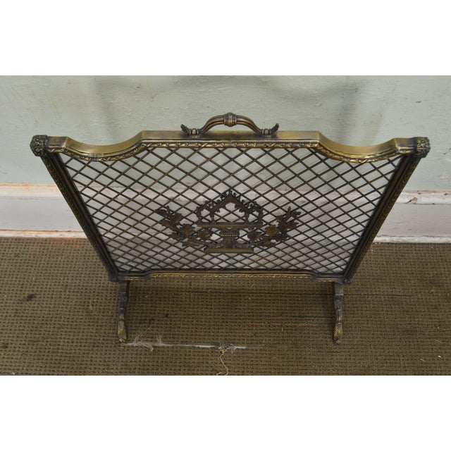 Maitland Smith French Louis XV Style Rococo Bronze Fire Screen For Sale - Image 9 of 13