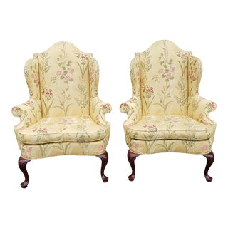Pair of Very Fine Southwood Furniture Mahogany Queen Anne Wingback Armchairs For Sale