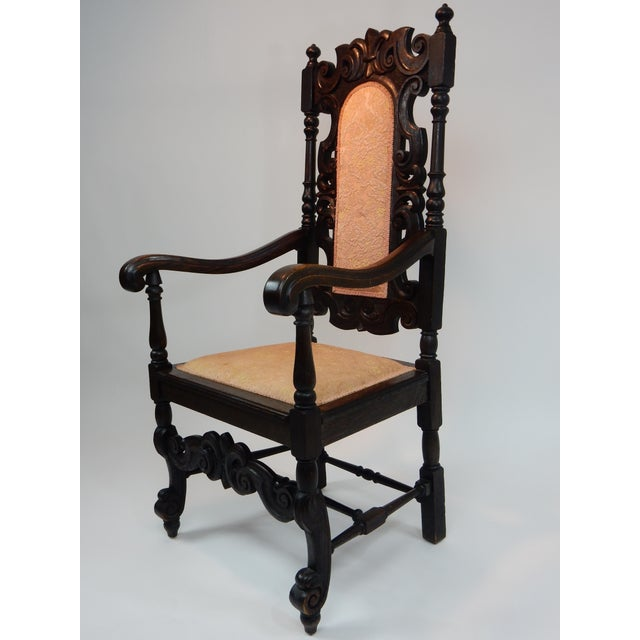 Antique Intricately Carved Oak Throne Chair - Image 8 of 10