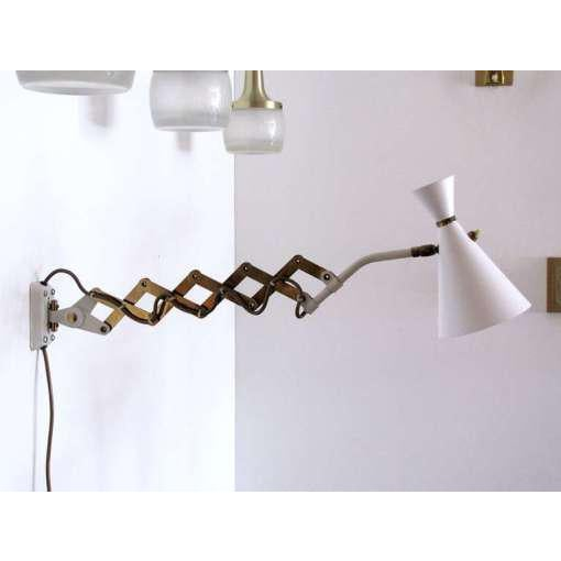 German White and Brass Scissor Lamp - Image 2 of 10