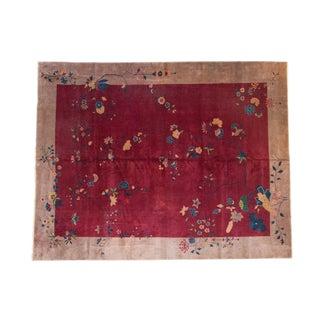 """Antique Nichols Art Deco Carpet - 9' X 11'4"""" For Sale"""