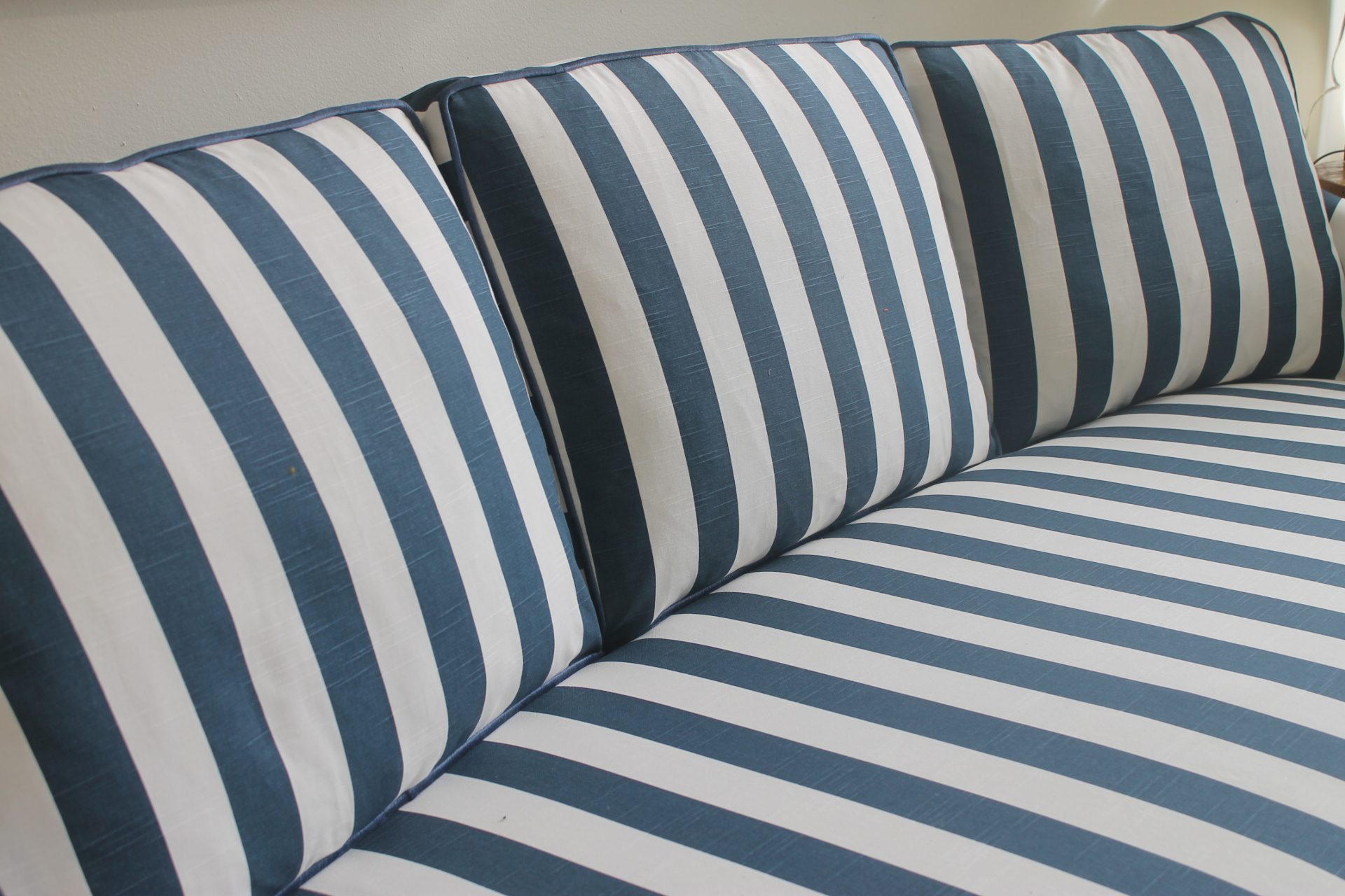 Charming Lillian August Navy White Stripe Sofa   Image 6 Of 6