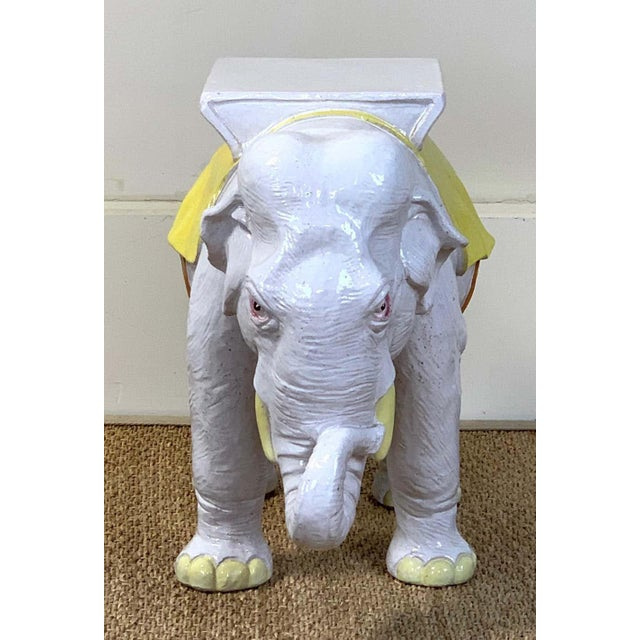 White Italian Glazed Ceramic Elephant Garden Seat For Sale - Image 8 of 13
