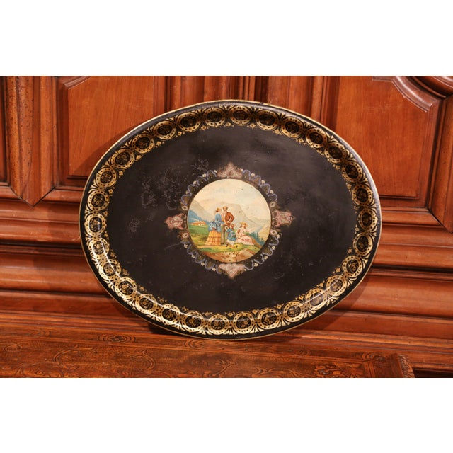 French 19th Century French Napoleon III Hand-Painted Oval Tole Tray With Family Scene For Sale - Image 3 of 6