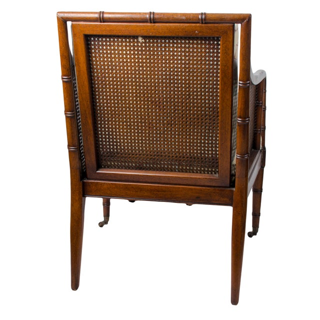 1960s Regency Hickory Chair Co. Bamboo & Cane Chair For Sale In Savannah - Image 6 of 8