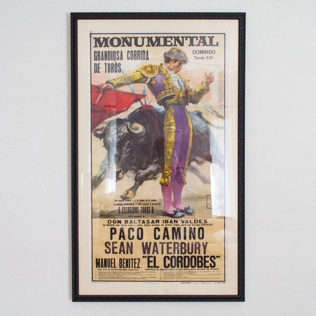 Vintage 1970's Bullfighting Poster Framed in Acrylic From Spain For Sale - Image 11 of 11