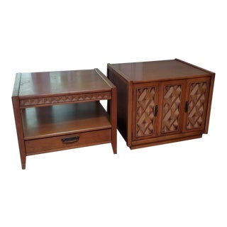 1960s Mid-Century Modern Broyhill Diamondhead Series End Tables - A Pair