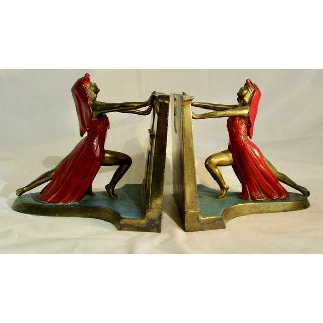1924 L Moronson Egyptian Revival Polychrome Queen of the Nile Bookends - a Pair For Sale - Image 9 of 9