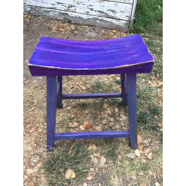 Sturdy, comfortable Asian-design Saddle Seat. Hand-painted with luscious violet, fuchsia, purple and periwinkle oil...