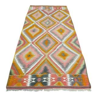 Mid 20th Century Anatolia Turkish Antalya Barak Kilim Wool RUg- 3′11″ × 8′1″ For Sale