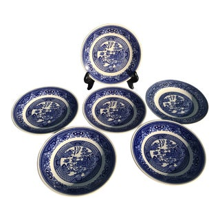 1930s Vintage Traditional Blue Willow Small Plates - Set of 6 For Sale
