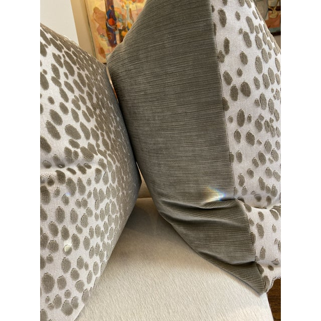 """Custom pair of 22"""" pillows covered in Schumacher """"Cheetah Velvet Natural"""" and backed in a coordinating tan velvet. These..."""