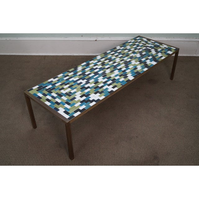 Mid Century Brass Coffee Table with Tile Top - Image 5 of 10