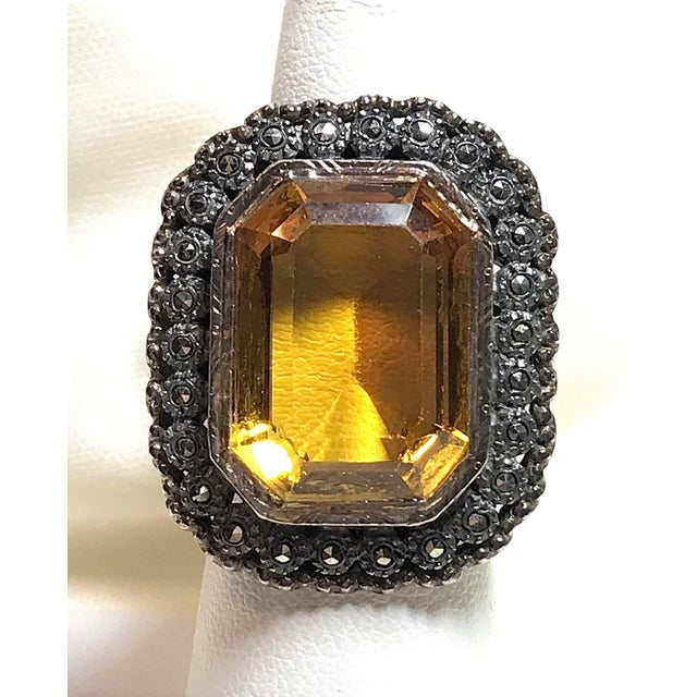 1930s Vintage Sterling, Marcasite & Faceted Glass Ring For Sale In Los Angeles - Image 6 of 7