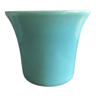 Mid Century Teal Pottery Planter For Sale