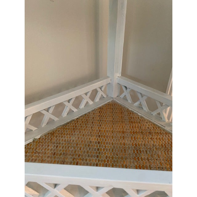 Shabby Chic Corner Lattice Shelf/Plant Stand With Rattan Lining For Sale In New York - Image 6 of 7