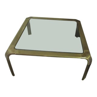 Final Call - 1970s Mid Century Modern Mastercraft Style Brass Coffee Table by John Widdicomb For Sale