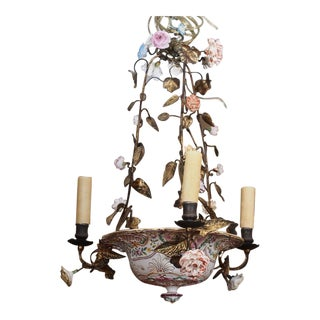 Antique French Porcelain Chandelier For Sale