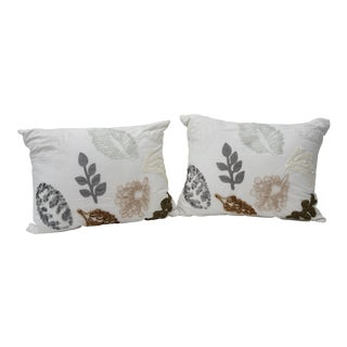 Custom Made Leaf Print White Pillows - a Pair