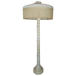 Floor Lamp 'Alabaster' With Period Silk Shade and Fringe For Sale