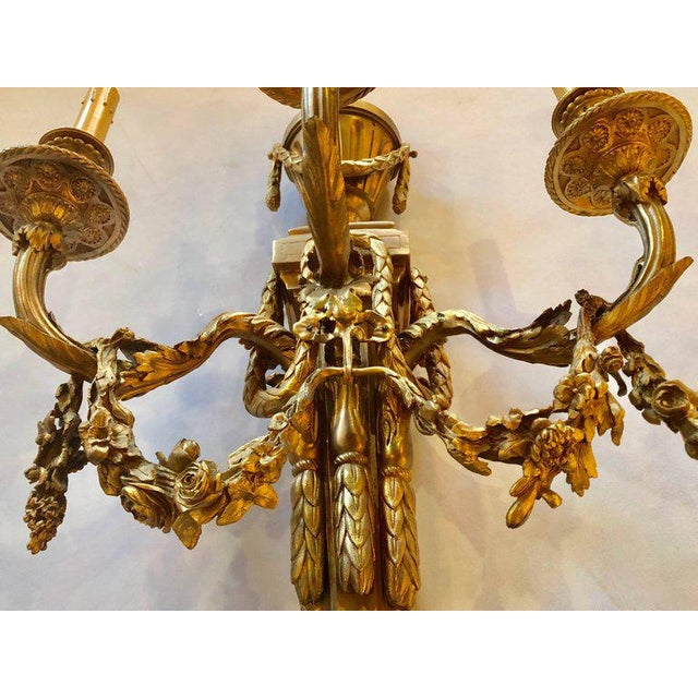 Pair of French Louis XVI Style Dore Bronze Sconces With Foundry Name For Sale - Image 10 of 13
