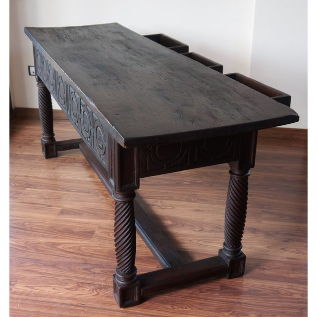 Walnut 18th Spanish Baroque Carved Walnut Refectory Table For Sale - Image 7 of 10