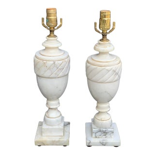 Italian Marble Lamps - a Pair For Sale