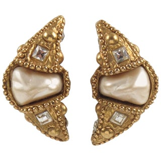 Alexis Lahellec Paris Signed Clip-On Earrings Resin Crescent With Pearl For Sale