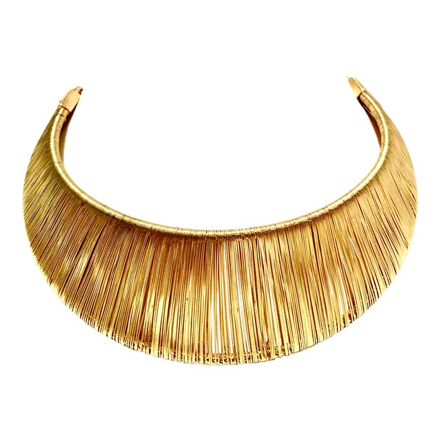 1980's Modernist Napier Style Gold Plate Wire Collar Choker Necklace For Sale