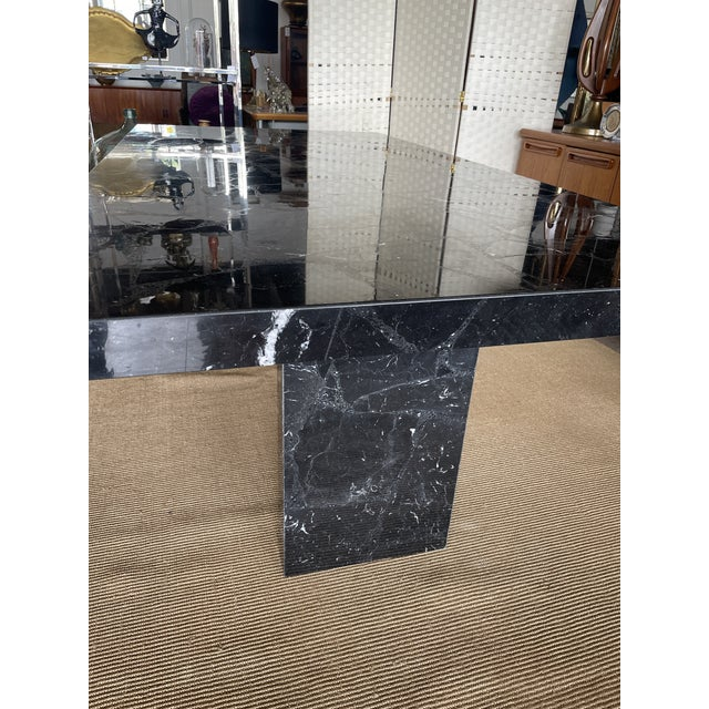 1980s Nero Marquina Black Marble Dining Table For Sale - Image 12 of 13